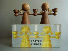 DDR VERO Kerzenkinder Leuchter aus Holz, GDR 60s