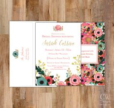 Floral Collection + Gold Glitter Watercolor Shower by cwdesigns2010 on etsy themapchick.com