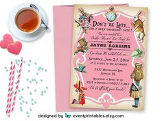 PDF DIGITAL TEMPLATE. A fun assortment of Alice in Wonderland characters and vintage colours gives this invite a fairytale feel. Print as many as you need! The Alice in Wonderland Baby Shower Tea Party Invitation Template. *This listing is for the customized digital file (PDF) only.* You are responsible for the actual printing! Matching Alice printables available in shop. ________________________________________________________ THE PROCESS: Send us your wording customization. We add the ...