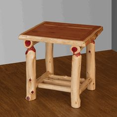 Another one of our genuine solid aromatic red cedar log furniture pieces - use this small table as a nightstand or end table in your rustic home. #red #cedar #log #nightstand #end #table