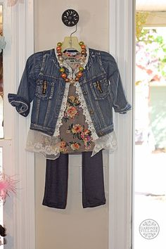 This is the perfect back-to-school outfit for any little girl! Grab her a jean jacket from Spoiled Rotten today!