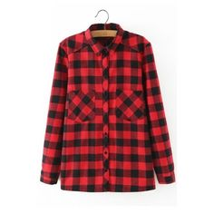 Plaid Lapel Long Sleeves Button Down Blouse (2,150 INR) ❤ liked on Polyvore featuring tops, blouses, red plaid blouse, plaid blouse, red blouse, long blouses and long tops