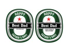 6 Heineken Personalized Stickers,Gift For Dad, Father's Day Gift, Fathers Day, World's Best Dad, Personalized Stickers for Dad, Dad Stickers
