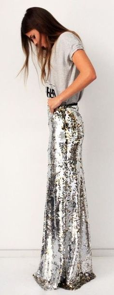 sequin maxi skirt.