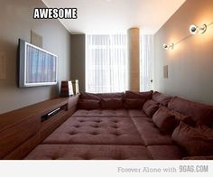 Awesome. But i would totally want a bigger TV and different lighting but this is my dream room - with a lot more fluffier pillows of course.