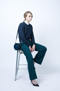 Carven's whole look. Especially, the teal pants and round small bag