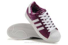 Adidas Superstar II Blanc Femmes Pourpre Profond