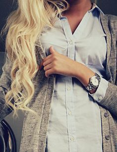 Blue Button Down And A Grey Cardi.