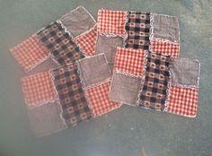 Handmade Primitive Rag Quilt Placemat, tabler unner, candle mat
