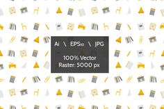 School supplies vector background by YershovOleksandr on Creative Market