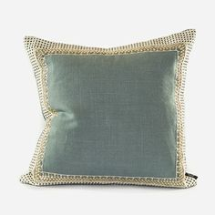 Sky blue Belgian chintz linen pillow Sky blue Belgian chintz linen pillow with ivory perforated leather and metal detail border. http://www.ankasa.com/products/sky-blue-belgian-chintz-linen-pillow