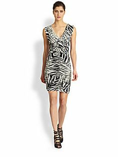 Fuzzi - V-Neck Zebra-Print Dress