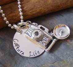 Capture Lifehand stamped sterling silver camera by cinnamonsticks