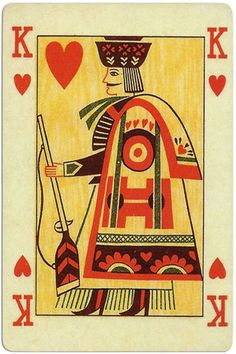 King of Hearts - Ibusz folklore cards King Of Hearts Card, Heart Cards, Deck Of Cards, Folklore, Tarot, Playing Cards, Valentines, History, Illustration