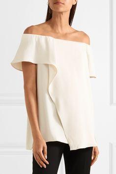 Halston Heritage | Off-the-shoulder draped crepe top | NET-A-PORTER.COM