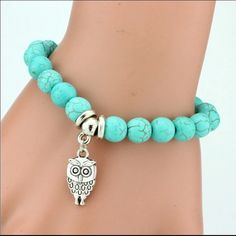 Owl Vintage Turquoise Beaded Bracelet Beautiful beaded bracelet that has elastic stretch. Beads are green and charms have great detail. Great for any size wrist Jewelry Bracelets