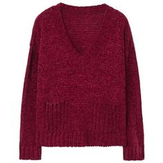 Chenille Sweater ($40) ❤ liked on Polyvore featuring tops, sweaters, jumper, sweaters and sweatshirts, chunky cable knit sweaters, v neck cable sweater, purple top, long sleeve v neck sweater and v neck sweater