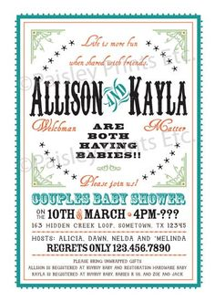 Joint baby shower chalkboard invitation gender neutral baby shower western chic joint couples baby shower invitation option to print love this one filmwisefo Images