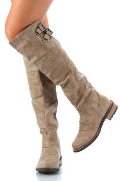 Qupid Relax-01X Buckle Knee High Boot in taupe