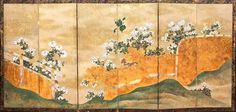 Japanese screen with an autumn composition. Rinpa School, 18th-19th   century.