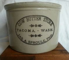 ANTIQUE COW BUTTER STORE TACOMA WASHINGTON RED WING POTTERY ADVERTISING CROCK