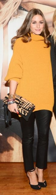 Who made Olivia Palermo's orange turtleneck sweater and black pumps?     Shoes – Diane Von Furstenberg Sweater – Guess  - sweater and heels
