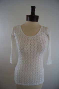 Sara Campbell White Lace Tee, Made in the USA