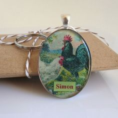 Personalized Chicken Keyring Keychain Key Fob by 78HappinessPlace, £5.50
