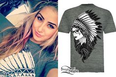Allison Green is wearing the Gray 'Up In Smoke' T-Shirt from Fatal Clothing ($21.99), which depicts a girl wearing oversized glasses and a Native American headdress. Her exact tee is from the men's line, though this design is available in a few different styles.
