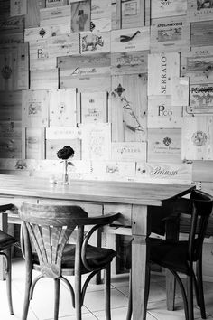 Wine box wall in black and white