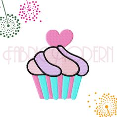 CUPCAKE Embroidery Design with heart topping, 5 sizes from 2 inches to 4 inches, #602 by FabricModern on Etsy