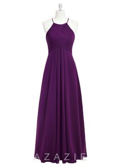 Ginger, affordable floor-length chiffon bridesmaid dress, purple, navy, pink…
