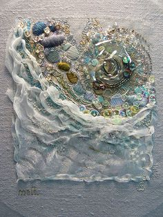 Melt - based on a photo of melting ice - embroidery on linen by Carol Walker 2013