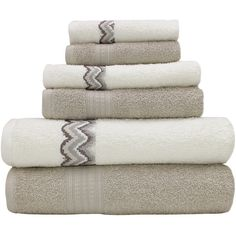 Pacific Coast Textiles Moroccan Chevron 6-pc. Bath Towel Set ($45) ❤ liked on Polyvore featuring home, bed & bath, bath, bath towels, decor and bathroom