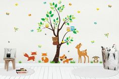 Forest Baby Wall Decals - Woodland Wall Decals - Forest Animal Stickers - Deer Koala Bear Wall Decals - Tree Wall Decals - x Baby Room Wall Stickers, Kids Room Wall Decals, Nursery Wall Decals, Baby Decor, Forest Nursery, Woodland Nursery, Woodland Baby, Animal, Tree Wall
