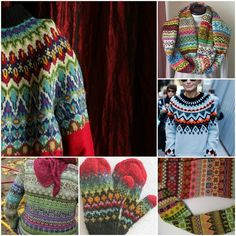 sources: ahh! this amazing yoke! gorgeous cowl. graphic sweater for cool chics. sideways sweater. lovely mittens. fair isle sweater with red shawl..