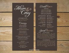 Wedding Program Order Of Service by DarlingPaperCompany on Etsy ...
