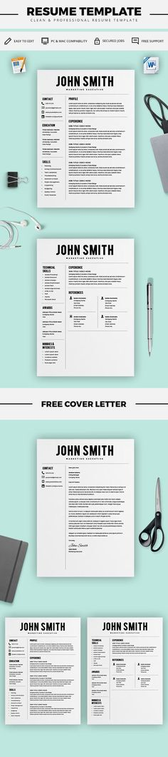 Modern Resume Template - Professional CV Template - Free Cover - microsoft word resume template for mac