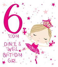 6th Birthday Girls, Happy 6th Birthday, Birthday Qoutes, Cool Birthday Cards, Girl Clipart, Card Sizes, Growing Up, Journaling, Envelope