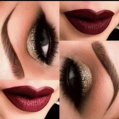 Holiday Makeup: Sparkles, Smokey, and Berry  One of our favorite parts of dressing up for all these holiday parties is playing with makeup! Our go-to advice is to stick with darker hues, especially during this time of year. Deep berry lips and brown or gold eyeshadows can give off a very wintery festive look. Here are a few examples!