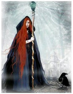 f Wizard Cloak Staff Crow familiar midlvl Magia Elemental, Male Witch, Glinda The Good Witch, Beautiful Witch, Pagan Art, Vintage Witch, Witch Art, Witch Aesthetic, Magic Book