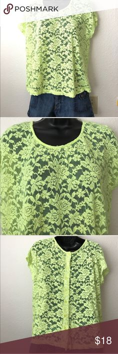 Mossimo Lime Green Shirt Size L 💚Mossimo Lime Green Shirt💚 💚NWOT💚 💚Size L💚 💚Fabric: 55% Cotton 33% Nylon 8% Rayon 1% Spandex💚 💚Floral Lace, see through button up back. This would be great for Coachella💚 💚No snags, rips or dirty, SMOKE FREE HOME💚 Mossimo Supply Co Tops Tees - Short Sleeve