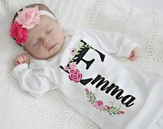 Personalized Baby Gift Girl Newborn Girl Coming Home Outfit Personalized Baby Girl Clothes Baby Clothes Infant Gown Baby Outfit image 0 - Unique Baby Outfits Girls Coming Home Outfit, Take Home Outfit, Twin Girls Outfits, 70s Outfits, Twin Baby Clothes, Baby Gown, Personalized Baby Gifts, Personalized Clothing, Newborn Pictures