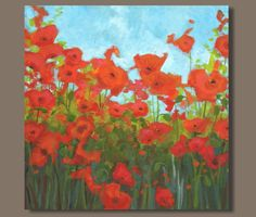 canvas painting poppies poppy painting by SageMountainStudio