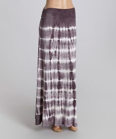 Look at this POPULAR BASICS Charcoal Stripe Fold-Over Maxi Skirt on #zulily today!