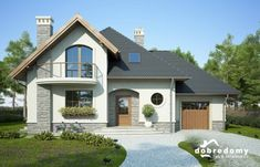 Ariadna I - Dobre Domy Flak & Abramowicz Small House Design, Dream Home Design, Home Design Plans, Modern Bungalow House, Villa Plan, Sims Building, Barn Living, House Doors, Country House Plans