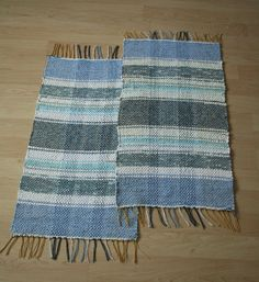 Pair of handwoven small blue striped rugs by finnishweaver on Etsy, $87.00