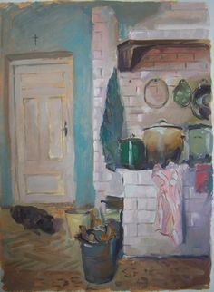 Our old kitchen, oil on card
