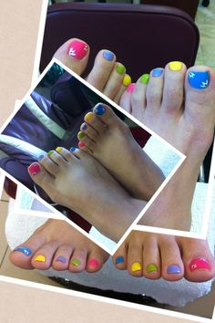 Fun multi colour pedicure!