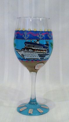 destination wedding or getaway weekend, our hand-painted travel & leisure wine glasses feature cruise ship and are designed with an island flair and may be personalized with initial, name or monogram  $28 per piece  $25 per piece for set of two or more